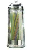 Palais Glassware Glass Straw Dispenser With Chrome Base Ver 28cm High, New