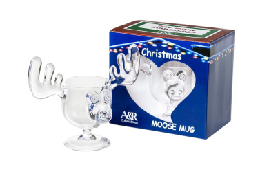 Christmas Eggnog Moose Mugs - Boxed Set Of 2 - Safer Than Glass New