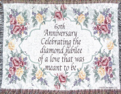 60th Wedding Anniversary Sofa Throw - 60th Anniversary - Made In Usa, New,