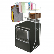 Width Adjustable 2-shelf White Metal Space Saver Unit / Utility Storage Rack -