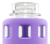 Ello Pure Bpa-free Glass Water Bottle With Lid 590ml Purple Squares New