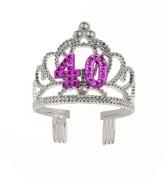 Forum Novelties Happy Birthday 40th Silver Pink Tiara