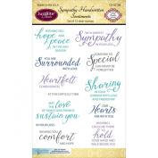 Justrite Papercraft Sympathy Handwritten Sentiments Clear Stamp Set, 10cm X 15cm , New