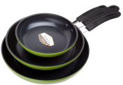 Green Earth Frying Pan 3-piece Set By Ozeri (20cm , 25cm , 30cm ), With Textured