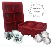 Cocktail Ice Tray - Jumbo Ice Cube - Combo Large Square and Sphere Round Silicone Moulds for Whiskey Ice and Cocktails