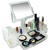 Ikee Design Luxury Cosmetic Makeup Acrylic Organiser With Two-sided Mirror
