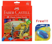 Faber Castell Colour Pencil 48 with Free Premium Westcott Eraser Best Coloured for Adult Colouring Book