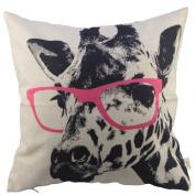 Hosl Animal Style Giraffe Pink Glasses Sofa Simple Home Decor Design Throw Case