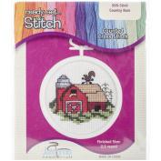 Janlynn 998-5049 Barn Mini Counted Cross Stitch Kit-6.4cm Round 18 Count New