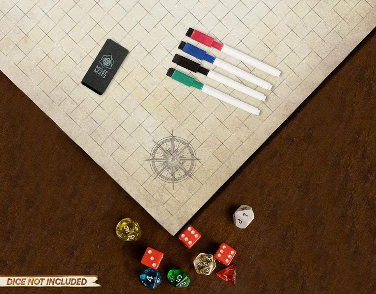 Battle Grid Game Mat - ULTRA DURABLE POLYMER MATERIAL - JUMBO Role Playing  DnD Map - Reusable Table Top Non Hex Mats - RPG Dungeons and Dragons Dry