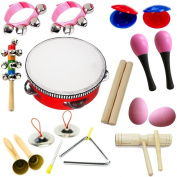 Hot New! Lebbeen 11pcs Novelty Kids Roll Drum Musical Instruments Band Kit Toy