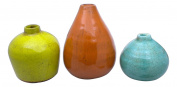 Sullivans 8.9cm 11cm And 14cm Set Of 3 Decorative Crackled Vases In Aqua Orange A
