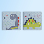 Bananafish Little Dino Wall Art, Blue, 2 Count, New,  .