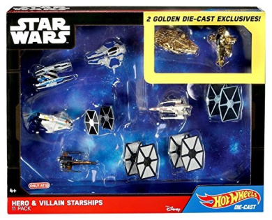 Star Wars Hero and Villain Starships 11 pack with 2 Golden Hot Wheels