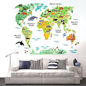 Eveshine Animal World Map Peel & Stick Nursery Wall Decals Stickers, New