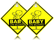 "Inspiration ""baby On Board"" With Suction Discs Sign, 2-pack 5x5 2pcs"