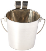 Indipets Heavy Duty Flat Sided Stainless Steel Pail, 0.9l