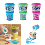Cereal On The Go Cup EZ Freeze Gel Travel Food Storage Snack Container Keeper !!