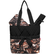 Camo Quilted 3pcs Nappy Bag-black
