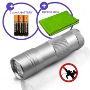 Pet Urine and Stain Detector 12 UV LED Ultraviolet Travel Size Flashlight Blacklight With Duracell AAA Batteries
