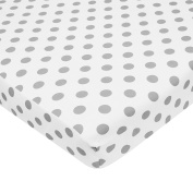 Tl Care 100% Cotton Percale Fitted Mini Crib Sheet, White With Grey Dot
