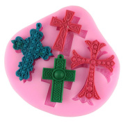 Mujiang 4-capacity Cross Silicone Clay Fimo Sugarcraft Candy Fondant Moulds