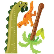 Wallies Wall Decals Dino Growth Chart Wall Sticker 90cm X 100cm - 1.3cm , New