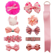 HowYouth Baby Girl's Hair Accessories 11Pcs Hair Bow Ribbon Clips with Hair Bow Holder