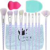 Make Up Brushes, Lover Bar 10pcs Unicorn Design Makeup Brush Set+Beauty Cosmetics Blender Sponge+Brush Cleaning-Luxe Face Powder Highlighter Cream Contour Liquid Foundation Eyeshadow Eyebrow Brush Kit