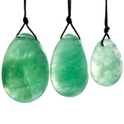Shanxing Green Fluorite Yoni Eggs Set of 3, Predrilled, with Unwaxed String, Massage Stone for Women to Strengthen Pelvic Floor Muscles and Counter Stress Adult Urinary Incontinence