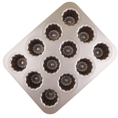 MyLifeUNIT Carbon Steel Cannele Pan, 12-Cavity Non Stick Cannele Mould, Golden