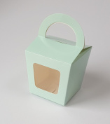 30 x Duck Egg Blue Single Cupcake Boxes with Display Window and Carry Handle