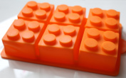 Morethanart Children's Birthday Lego Style XXL Baking Mould Silicone Orange