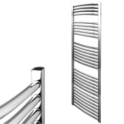 """Central Heating """"Electra Curved"""" Heated Ladder Towel Rail, High Output Round Bars, 5 Year Guarantee, Classic Chrome/White, Chrome, 1500 x 500"""