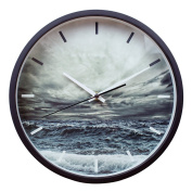 Contemporary Wood Wall Clock Silent Quartz Clock Black Wooden Frame 10 inch (25cm ) Chic and Stylish with 2-year Warranty Stormy Ocean