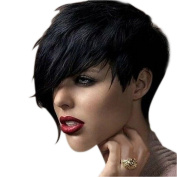 Gemini_mall Women Lady Heat Short Black Straight Wig Cosplay Party Full Hair Wigs with Wig Cap