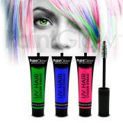 PaintGlow UV Neon Hair Colour Streaks (3 Pack) Festival Temporary Hair dye glow