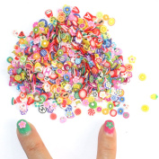 FACPOET 1000pcs/bag 3D Nail Art Stickers Fruit Feather Heart Flower Candy Tiny Fimo Cane Slices Polymer Clay DIY Nail Tips Decoration