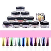 Covermason 12 Colours Nail Glitter Mirror Powder Shinning Nail Art DIY Pigment With Sponge Stick