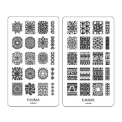 "Ejiubas Double-sided Nail Stamping Plates ""Mysterious Mandala"" Easy Nail Art Stamping 1 Count"