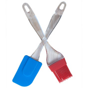 HUAXIONG Super Silicone Baking, Barbecue and Pastry Brushes / Shovels Kitchen Utensils Dishwasher Safety Heat-resistant Silicone Baking Mixing Spatula Scraper and Brush Set2pcs WH-BT006