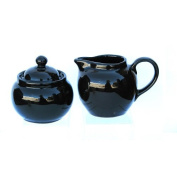Hand Made Brown Betty Teapot Cream and Sugar in Traditional Rockingham Brown