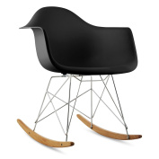 oneConcept Aurel Rocking Chair Retro 1970s Look (PP Shell, Birch Wood, Stylish Desing) Black