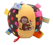 ODN Colourful Monkey Style Baby Ring Bell Ball Baby Cloth Music Sense Learning Toy Ball Educational Hand Grasp Rattle Ball