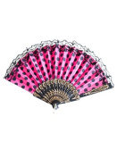 La Señorita Spanish Flamenco Fan pink black dots lace Hand Fan Dress costume