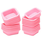 24pcs 100% HAND MADE Reusable Silicone Soap Mould Pink DIY Square Handmade Soaps Moulds Microwave, Oven, Refrigerator and Dishwasher Safe