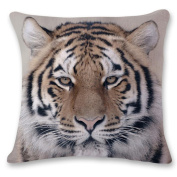 Usstore 1PC Decorative Pillowcases 3D Tiger Lion Throw Pillow Cover Cafe Home Decoration for Living Sofas Beds Room