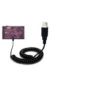 Coiled Power Hot Sync USB Cable suitable for the Nikon Coolpix S5300 with both data and charge features - Uses Gomadic TipExchange Technology