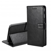 for Samsung Galaxy A3 2017 Case, Orlegol Galaxy A3 Leather Case Wallet Case Flip Case Cover PU Leather Magnetic Button with Card Slot and Stand for Samsung Galaxy A3 2017 - Black