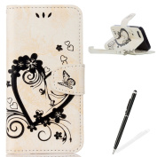 Feeltech Apple iPhone 5/5S/SE Flip case, Luxury Embossed Heart Butterfly Series Design Pattern Premium Ultra Slim PU Leather Wallet Cover [With Free Stylus Pen] Magnetic Clasp Closure Soft TPU Inner Bumper Built-in Foldable Stand Function Pocket Card S ..